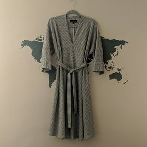Eloquii Midi Sleeve Dress with Tie Waist